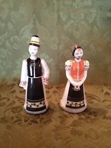 Hollohaza Hungarian Pocelain Small Man And Lady Hand Painted Figuerines