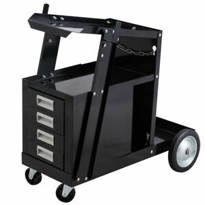 Welding Welder Cart Trolley Heavy Duty Workshop Organizer Welder W 4 Drawers New