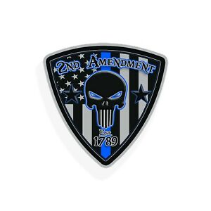 2nd Amendment Skull Sticker Usa Flag Blue Line Police Car Vehicle Window Decal