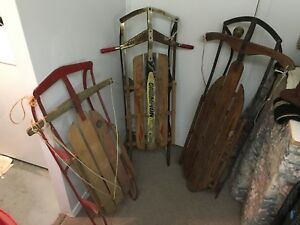 3 Antique Wooden Sleds