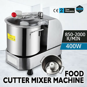 Stainless Steel Commercial Cutter Mixer 6l 2000r min Food Grinder For Meat 110v