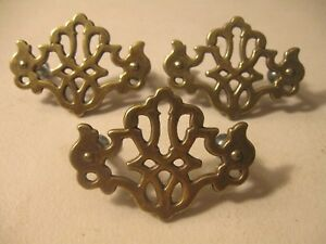 3 Vintage Furniture Decorations Applique Pediments Brass Finish