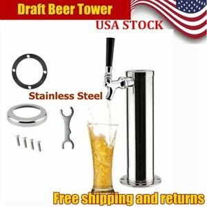 1 Tap 3 Dia Draft Beer Tower Stainless Steel Bar Pub Kegerator System Sale