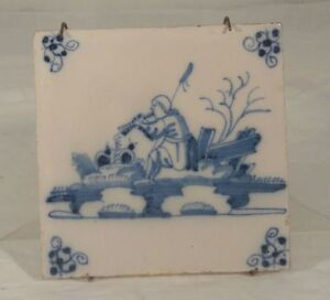 Antique Delft Dutch Blue And White Glazed Tile Decoration Kitchen