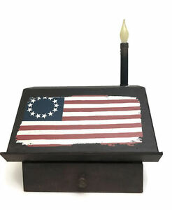 Primitive Style Writing Desk With Candle Light Old Flag Country Decor