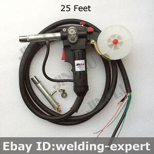Toothed Roller Nylon Body 25 Feet Mig Spool Gun Wire Feed Aluminum Steel Torch