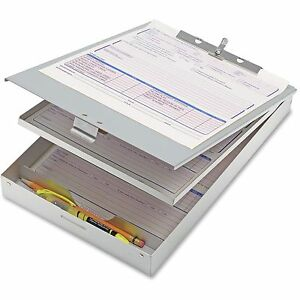 Officemate Double Storage Form Holder 8 1 2 x12 Aluminum 83207
