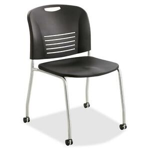Safco Stack Chairs W casters 22 1 2 x19 1 2 x32 1 2 2 ct Bk 4291bl