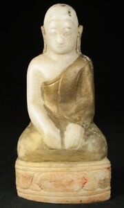 18th Century Antique Marble Monk Statue From Burma Antique Buddha Statues