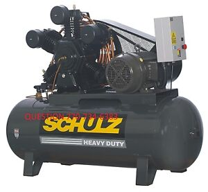 Schulz Air Compressor 20hp 3 phase 120 Gallons Tank 80 Cfm 175 Psi