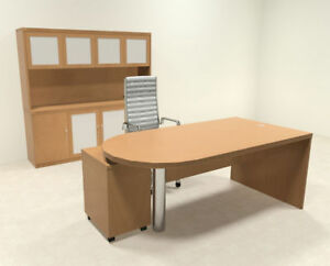 4pc Modern Contemporary Executive Office Desk Set ro abd d25