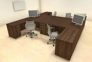 Four Persons Modern Executive Office Workstation Desk Set ch amb f24