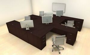 Four Persons Modern Executive Office Workstation Desk Set ch amb f7