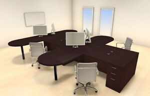 Four Persons Modern Executive Office Workstation Desk Set ch amb s22