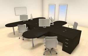 Four Persons Modern Executive Office Workstation Desk Set ch amb s23