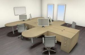 Four Persons Modern Executive Office Workstation Desk Set ch amb s25
