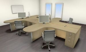 Four Persons Modern Executive Office Workstation Desk Set ch amb s40