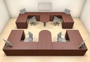 Four Persons Modern Executive Office Workstation Desk Set ch amb s61