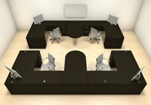 Four Persons Modern Executive Office Workstation Desk Set ch amb s63