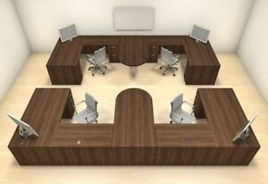 Four Persons Modern Executive Office Workstation Desk Set ch amb s64