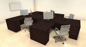 Four Persons Modern Executive Office Workstation Desk Set ch amb s7
