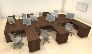 Six Persons Modern Executive Office Workstation Desk Set ch amb f14