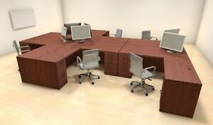 Six Persons Modern Executive Office Workstation Desk Set ch amb f26