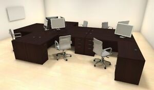 Six Persons Modern Executive Office Workstation Desk Set ch amb f27