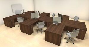 Six Persons Modern Executive Office Workstation Desk Set ch amb s14