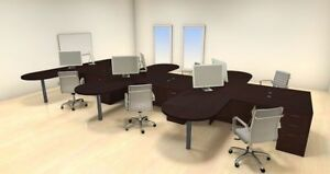 Six Persons Modern Executive Office Workstation Desk Set ch amb s27