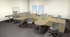 Six Persons Modern Executive Office Workstation Desk Set ch amb s30