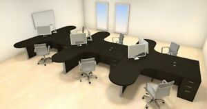 Six Persons Modern Executive Office Workstation Desk Set ch amb s43