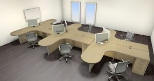 Six Persons Modern Executive Office Workstation Desk Set ch amb s45