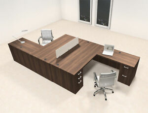 Two Persons L Shaped Office Divider Workstation Desk Set ch amb fp4