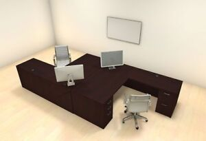 Two Persons Modern Executive Office Workstation Desk Set ch amb f2