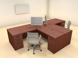 Two Persons Modern Executive Office Workstation Desk Set ch amb s1