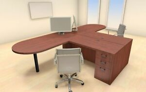 Two Persons Modern Executive Office Workstation Desk Set ch amb s16