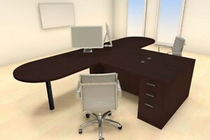 Two Persons Modern Executive Office Workstation Desk Set ch amb s17