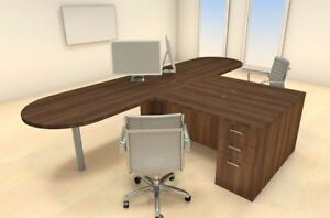 Two Persons Modern Executive Office Workstation Desk Set ch amb s19