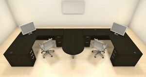 Two Persons Modern Executive Office Workstation Desk Set ch amb s53