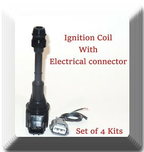 4 Kits Ignition Coil With Pigtail Connector Fits Nissan Altima Sentra trail