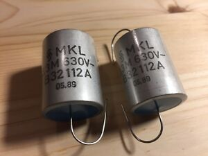 2 New Nos Siemens Mkl Cellulose Acetate Matched 3 3uf 630v Capacitors