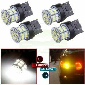 4pc Pure White 7443 Backup Reverse Led Light Bulb 54smd 7440 7444 7441 992a W21w