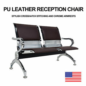 2 seat Bench Airport Heavy Duty Waiting Room Chair Brown Pvc Leather Cushion