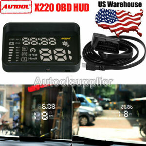 Autool X220 Obd Hud Head Up Display Temperature Overspeed Digital Alarm Us Stock