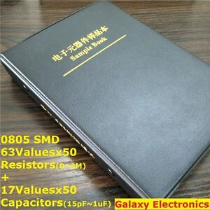 0805 1 Smd Sample Book Chip Resistor Capacitor Assortment Kit 63 17 Values