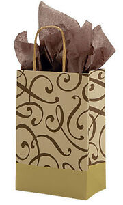Paper Shopping Bags 100 Swirl Retail Merchandise Brown Gold 5 l X 3 d X 8