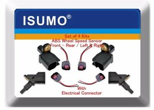 Set 4 Abs Wheel Speed Sensor Front Rear L r With Pigtail Fits mazda 3 5