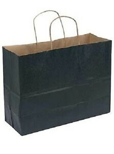 Paper Shopping Bags 100 Large Black Kraft Gift Merchandise 16 X 6 X 12