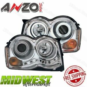 Anzo Chrome Projector Headlights With Halo Fits 2008 2010 Jeep Grand Cherokee